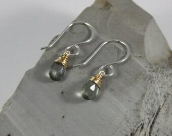 Moss Aquamarine Earrings- Sterling Silver, 14K Goldfill Wire, Artisan Earrings, Mixed Metal, March Birthstone