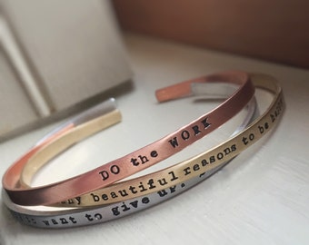 Skinny Stacking Bracelet Cuff Inspirational Motivational Name Date Tri Metal Silver Gold Copper Personalized Hand Stamped Bangle