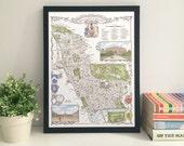 Kensington & Chelsea (Borough) illustrated map giclee print