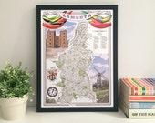 Lambeth (Borough) illustrated map giclee print