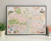 Central London illustrated map giclee print