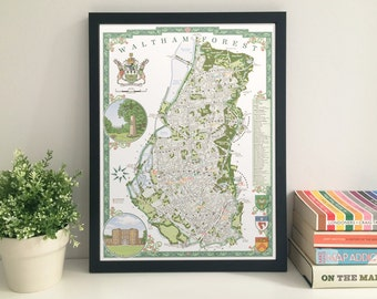 Waltham Forest (Borough) illustrated map giclee print