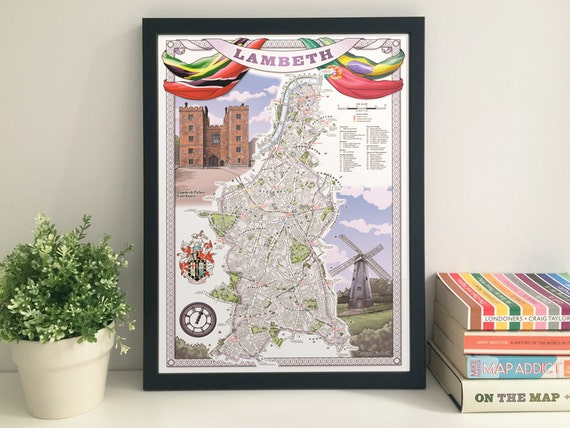 Lambeth (Borough) illustrated map giclee print