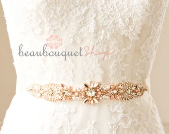 Bridal Sash Swarovski Bridal Sash Wedding Belt Rose Gold Wedding Dress Rhinestone Crystal Sash Bridal Accessories Wedding Accessories