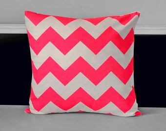 "Pillow Cover - Neon Pink Chevron 18"" x 18"""