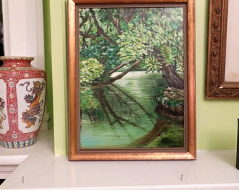 Painting of the Woods and a Peaceful Creek is Acrylic on Canvas in Gorgeous Shades of Green