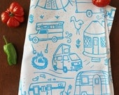 Organic Cotton Kitchen Tea Towel - Campground - Hand Printed - Trailers Yurt Tent Camper VW