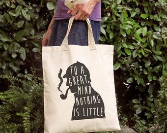 Sherlock Holmes quote tote bag-Sherlock to a great mind tote bag-british bag-literary tote-custom tote-school tote-by NATURA PICTA NPTB052
