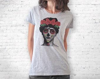 La Calavera Catrina Day of Death T-shirt-Halloween T-shirt-women clothing-sugar skull tee-cool tees-men shirt-La Catrina-NATURAPICTA-NPTS095