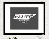 Guest Book Art Print, Unique Wedding Guestbook, Wedding Shower Decor, Personalized State Map Guestbook, Name Sign, Calligraphy, Any STATE