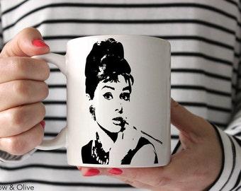 Audrey Hepburn Mug Breakfast at Tiffanys Coffee Mug Cup Holly Golightly Mug Gift for Her Gift for Friend BFF 11oz / 15oz sizes P0001