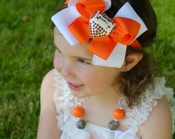 Football Bow - Feather Headband - Custom Color Football Bow