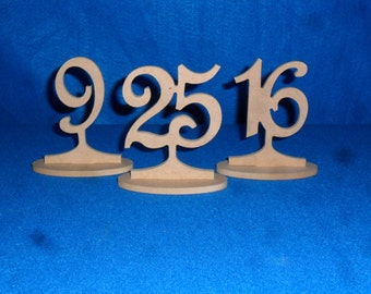 "Wooden Table Numbers 4""  Minis on a stick  3"" numbers with base 1-25 MDF / wood Free standing DIY weddingTable Number"