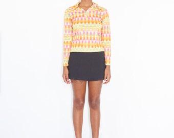 90s Cropped Abstract Digital Print Rave Shirt / Long Sleeve Polo Tee