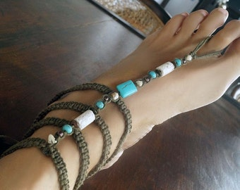Gladiator Barefoot Sandals, Turquoise Barefoot Sandals, Earth Tone Boho Sandals, 1 Pair