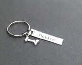 ONE DAY SALE Dog keychain, pet keychain, bone charm, dog bone, personalized keychain, custom pet name dog lover gift