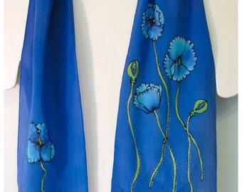 "Hand painted silk scarf. Blue Poppy Silk Scarf. 8""x52"" crepe. Handpainted silk scarf. Hand-painted silk scarves. handmade poppy scarf. OOAK"
