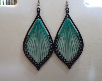 SALE Beautiful Black and Turquoise Leaf Thread Earrings Native, Hippie, Boho, Southwestern, Gypsy, Great Gift Ready to Ship