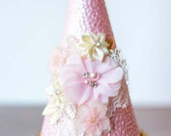 Birthday Pink and Gold Party Hat - Party Hat - Photo Prop - Shabby Chic Style - Princess Dress Up - Birthday Hat