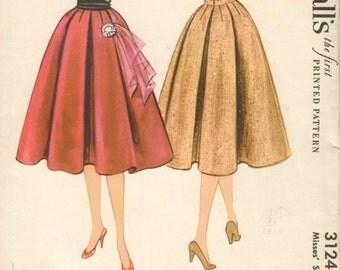 Super Uncut Vintage 1950s McCall's 3124 Full Box Pleated Midi Skirt Sewing Pattern W23