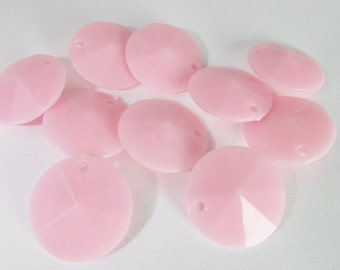 30 Vintage 15mm Faceted Pink Charms Drops Pendants Pd776