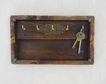 Wall Mounted Wooden Key Rack, Key Hooks, Rustic Key Box, Key Storage, Wood, Organizer for Keys