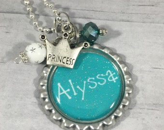 Girl's PERSONALIZED Charm Necklace / Monogram / Name Necklace / Kids Jewelry /Child's Birthday Gift / Horse / Unicorn / Sports / Girly Girl