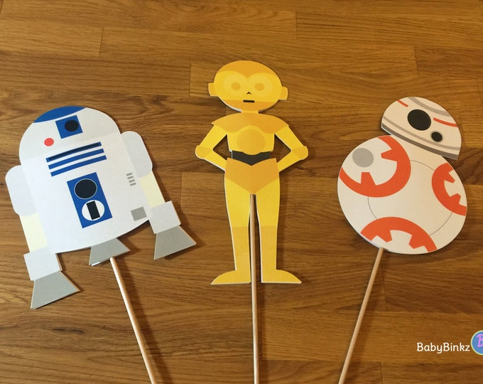 Photo Props: The Star Wars Droid Set (3 Pieces) - party wedding birthday jedi force light saber BB8 R2D2 CP3O centerpiece awakens