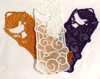 Dove Bookmark, Lace Dove Bookmark, Machine Embroidered Lace Dove Bookmark