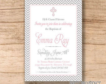 Girl Baptism invitation/ Pink Christening Invitation / Baby Girl Christening Invitation
