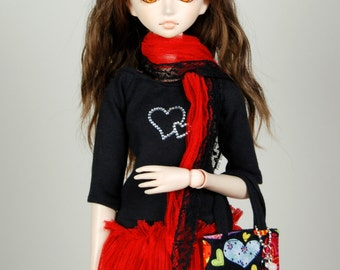 Black & Red outfit: shirt, skirt, scarf, and tote bag+key pendant, for MSD BJD / Obitsu body 1/3 (47 cm/18,5 in)