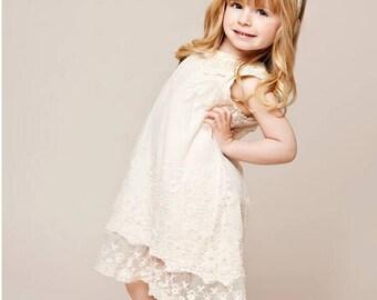 Little Girl Bohemian Vintage Inspired Flower Girl Ivory Pearl Tulle Dress