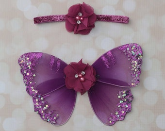 Plum Butterfly Wings with 2 inch plum flowers on glitter elastic, photo prop, newborn photographers, wings or headband only or as a set