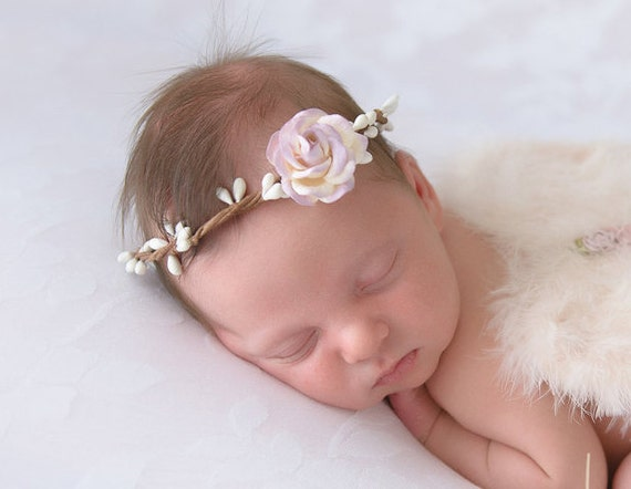 Wire Covered Halo with 4CM (1.5 inch) Lavender & Ivory Mulberry Rose, newborn photo, bebe fotografia, baby headband by Lil
