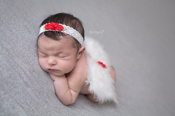 White Feather Angel Wings with Red Flowers and Matching Headband, photo prop, Christmas photos, Christmas Newborn, by Lil Miss Sweet Pea