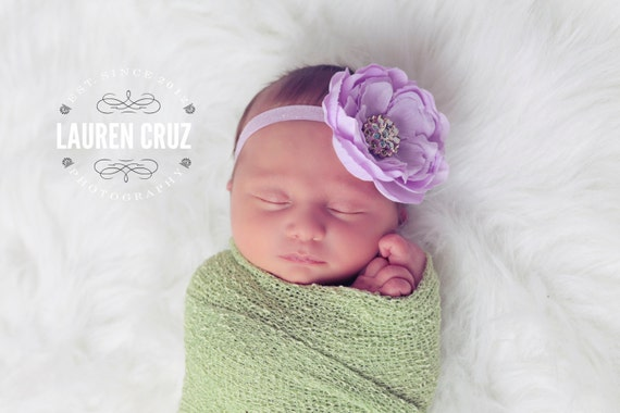 Lilac Ranunculus Flower Headband on Lilac Frosted Elastic - fits all ages, birthday headband, photo prop, newborn girl, flower headband