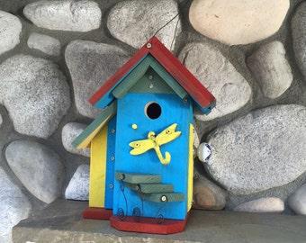 Dragonfly Hook Birdhouse, Colorful Functional Bird House, Gardening Birdhouses For Birds, Bird Supply, Yard Art, Item#BH903272
