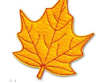 Leaf Feltie Embroidery Design, leaf feltie, autumn leaf, machine embroidery, ITH, in the hoop, 4x4, maple leaf, autumn, leaves, Fall, leaf