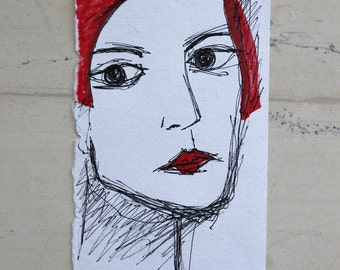 Portrait - Ink Drawing on white cotton paper - Woman - Small Format Art - Affordable art - Retro figure