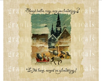 Old Christmas look Jingle bells Instant graphic digital download image for iron on fabric burlap transfer paper pillow totebag Item No 2171