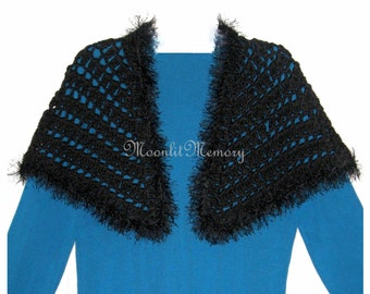 Black Capelet Eyelash Wrap Hand Crocheted Short Cape Cropped