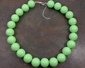 Statement Necklace, Green, Gumball Necklace, Chunky Necklace, Big Bead Necklace, Round Bead Necklace, Seafoam, Big Necklace, Green Necklace