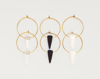 "spike hoop earrings - glass & brass // ""VENN DIAGRAM"""