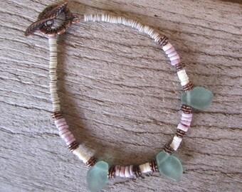 tropical shell bracelet, shell and copper bracelet, jewelry handmade in Hawaii, beach wedding bracelet, boho jewelry