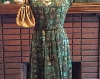 Vintage 1960's Summer Green Pleated Mid Century Modern Belted Shift Dress, Size 14