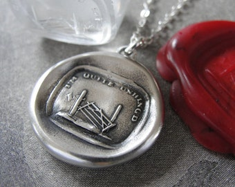 Wax Seal Necklace I'm Quite Unhinged - antique wax seal charm jewelry with garden gate by RQP Studio