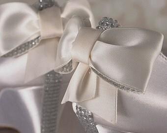 Ivory Wedge Wedding Shoes / Bridal Heels Wedge / Bling Bow / Crystal Heel