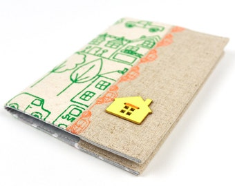 Kid's Passport Holder in Hand Printed Fabric Passport Cover Little Village Linen Travel Accessory