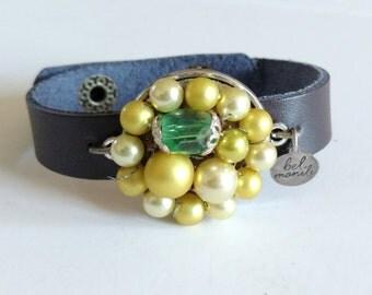 Green Bracelet, Leather Bracelet, Snap Bracelet, Leather Cuff, Cuff Bracelet, Lime Green, Recycled Bracelet, Upcycled Jewelry, Wholesale