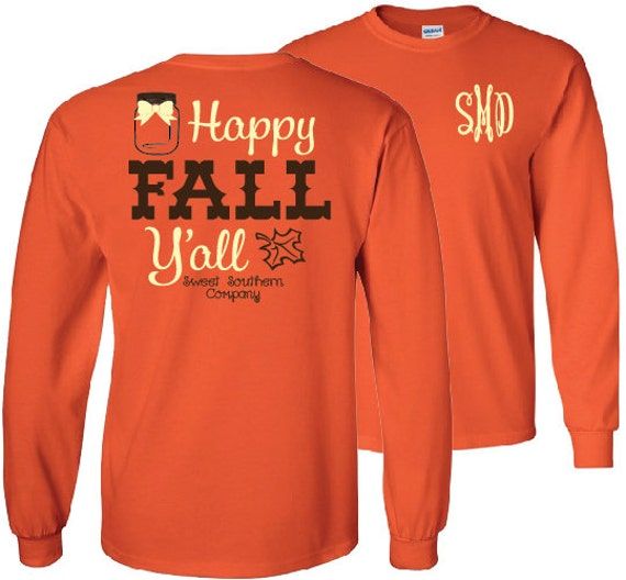 Happy fall y 39 all monogrammed long sleeve shirt fall for Personalized last name university shirts